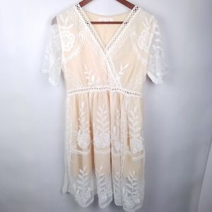 Chicwish Cream Embroidered Lace Overlay Dress Lg